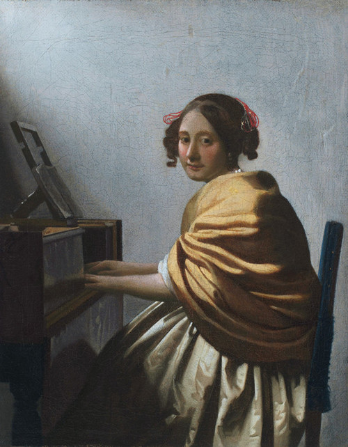 Art Prints of A Young Woman Seated at the Virginals by Johannes Vermeer