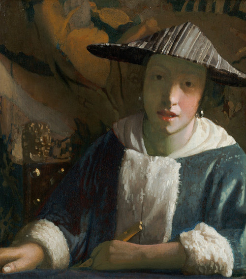 Art Prints of Girl with a Flute by Johannes Vermeer