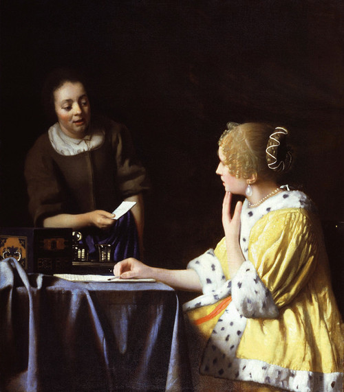Art Prints of Mistress and Maid by Johannes Vermeer