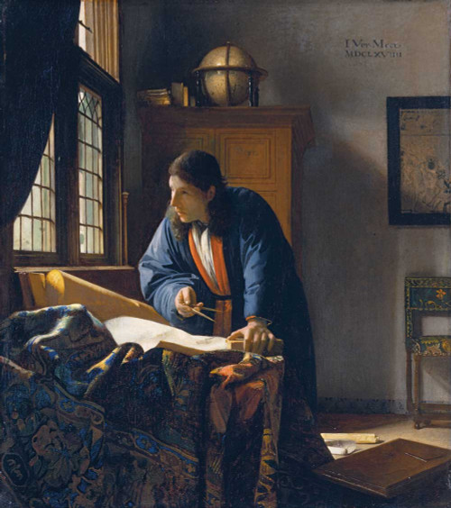Art prints of The Geographer by Johannes Vermeer