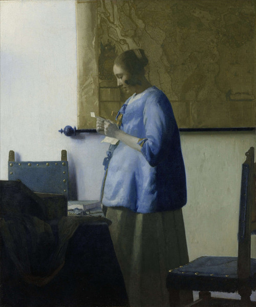 Art Prints of Woman in Blue Reading a Letter by Johannes Vermeer