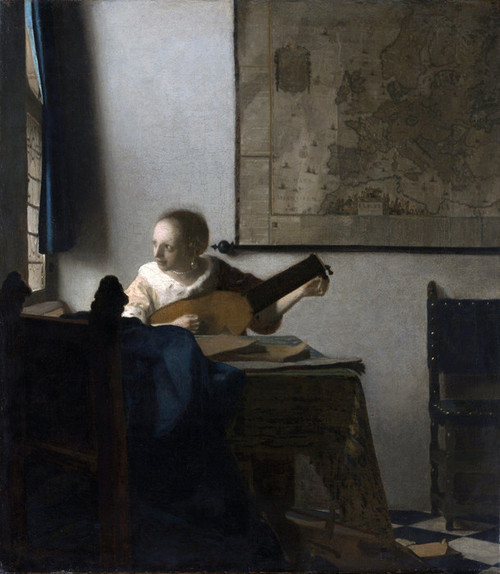 Art Prints of Woman with a Lute near a Window by Johannes Vermeer