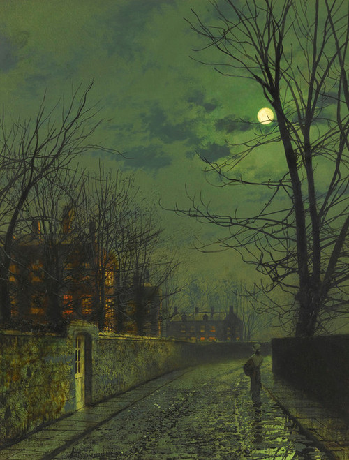 Art Prints of A Moonlit Street After Rain by John Atkinson Grimshaw