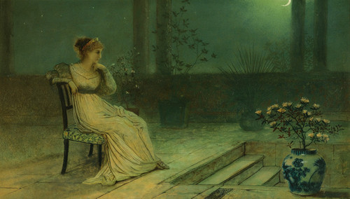 Art Prints of A Classical Maiden on a Terrace by Moonlight by John Atkinson Grimshaw