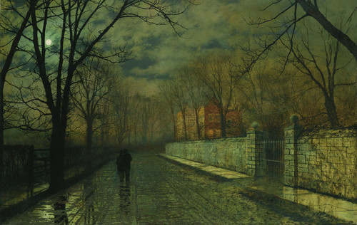 Art Prints of Figures in a Moonlit Lane After Rain by John Atkinson Grimshaw