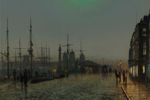 Art Prints of Hull Docks at Night by John Atkinson Grimshaw