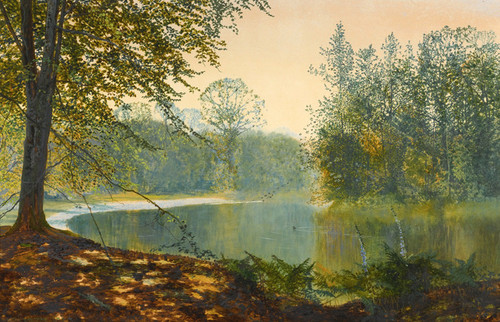Art Prints of Quiet of the Lake Roundhay Park by John Atkinson Grimshaw