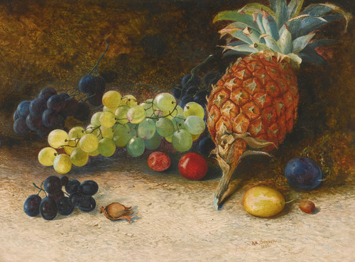Art Prints of Still Life of Pineapple, Grapes, Nuts, Plums by John Atkinson Grimshaw