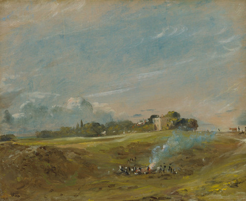 Art Prints of Hampstead Heath with a Bonfire by John Constable