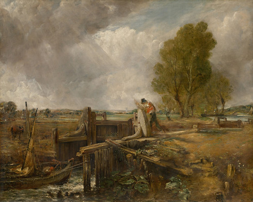 Art Prints of Study of a Boat Passing a Lock by John Constable