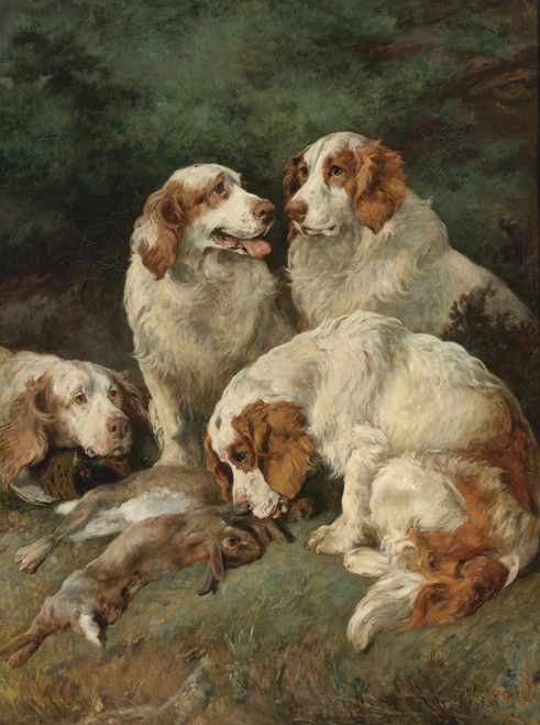 Art Prints of Clumber Spaniels with the Day's Bag by John Emms