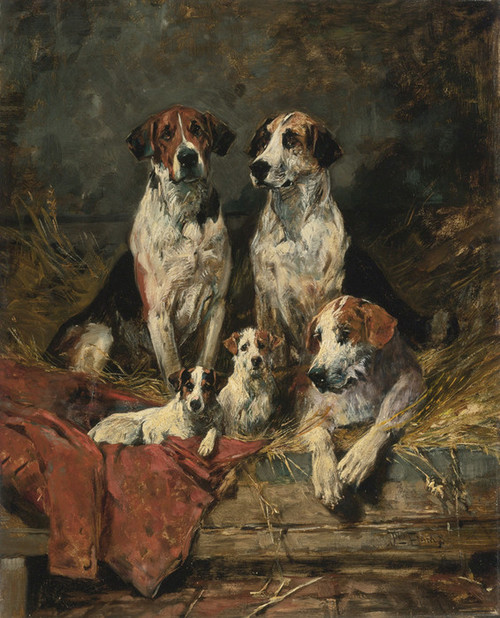 Art Prints of Four Foxhounds and a Terrier by John Emms