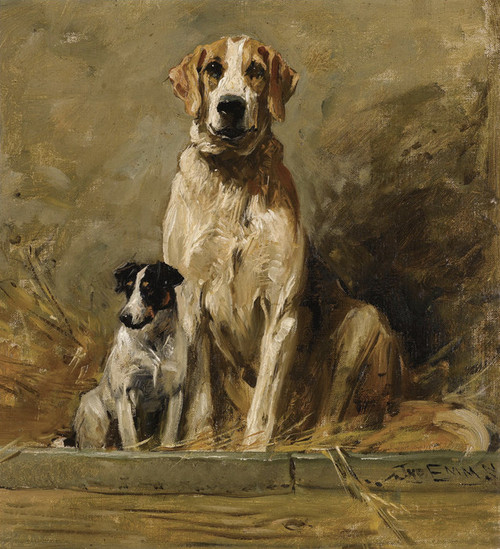 Art Prints of Hound and Terrier in a Kennel by John Emms