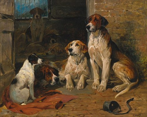 Art Prints of Hounds by a Kennel by John Emms