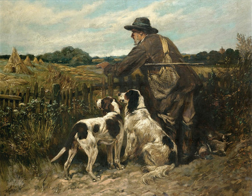 Art Prints of The Day's Bag, the Forester and His Dogs by John Emms