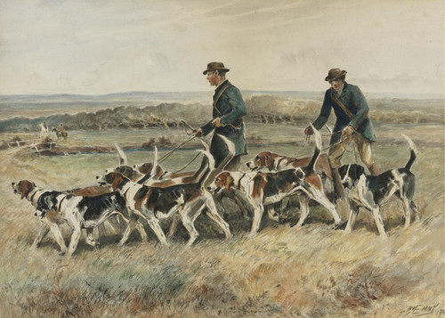 Art Prints of Walking the Hounds by John Emms
