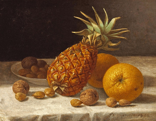 Art Prints of A Still Life with Pineapple, Oranges and Nuts by John F. Francis