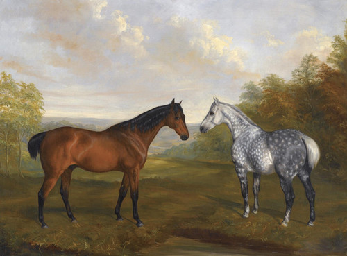Art Prints of A Chestnut Hunter and a Grey Hunter in a Landscape by John Ferneley