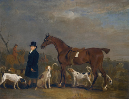 Art Prints of Henry Combe Compton Leading a Bay Hunter with Hounds by John Ferneley