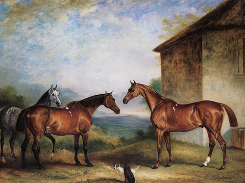 Art Prints of Three Hunters in a landscape by John Ferneley
