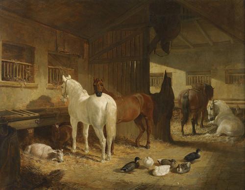 Art Prints of Four Horses in a Barn by John Frederick Herring
