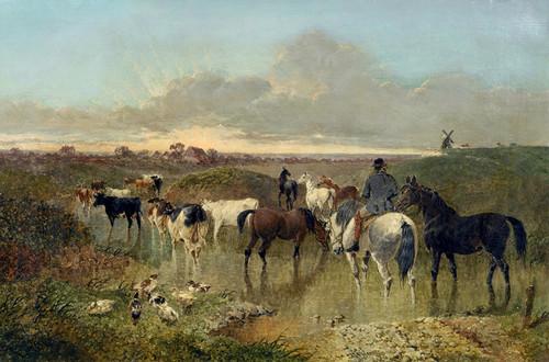 Art Prints of Horses on a Riverbank by John Frederick Herring