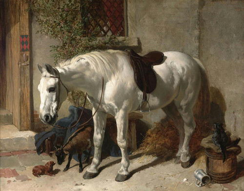 Art Prints of Saddled Mare with Goat and Dachshund by John Frederick Herring