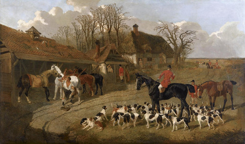 Art Prints of The Hunt Outside the Blacksmith's Forge by John Frederick Herring