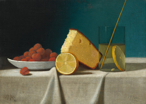 Art Prints of Still Life with Cake, Lemon and Strawberries by John Frederick Peto