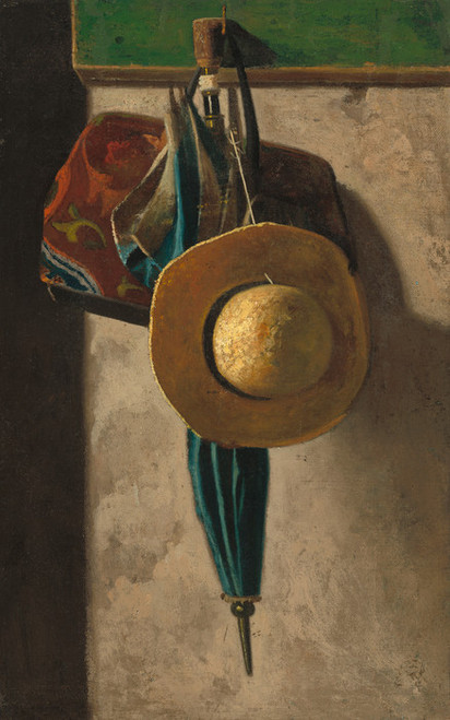Art Prints of Straw Hat, Bag and Umbrella by John Frederick Peto