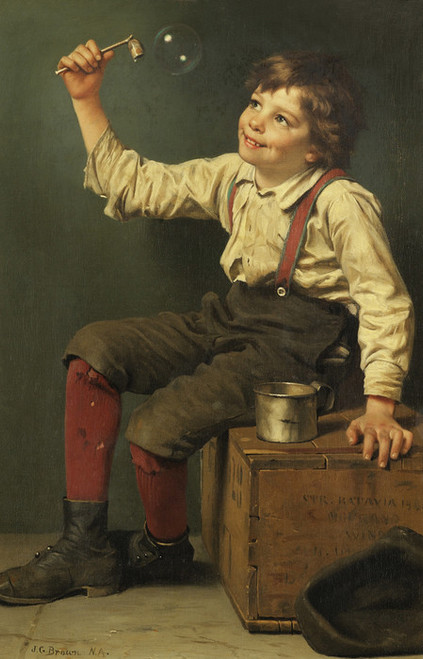 Art Prints of Boy Blowing Bubbles by John George Brown