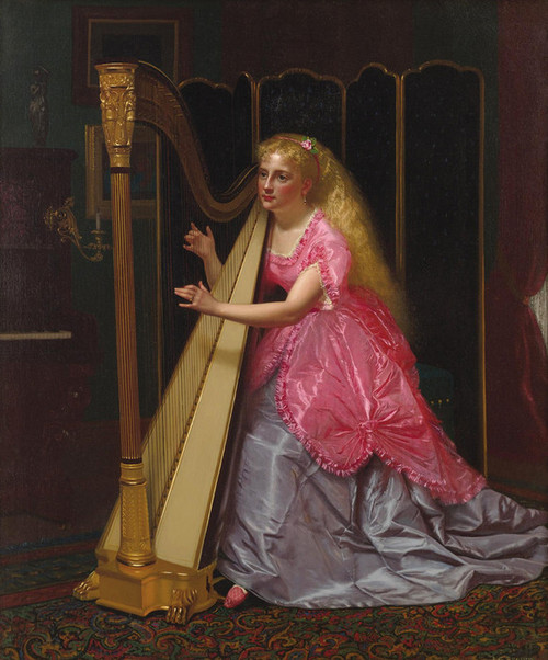 Art Prints of The Harpist by John George Brown