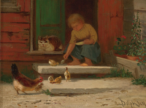 Art Prints of Feeding the Chickens by John Henry Dolph