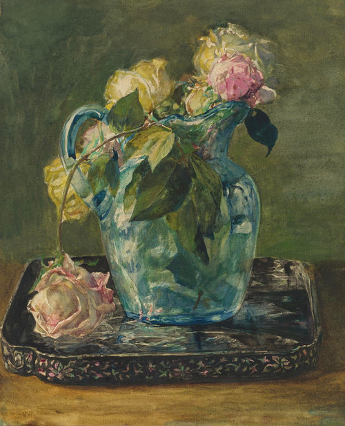 Art Prints of Roses in a Blue Crackle Glass Pitcher by John La Farge