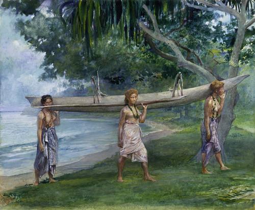 Art Prints of Girls Carrying a Canoe, Samoa by John La Farge