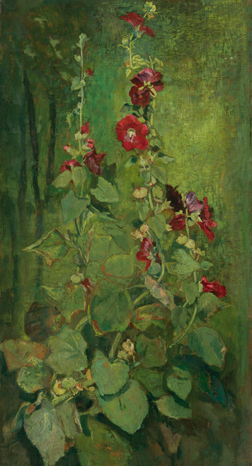 Art Prints of Red Hollyhocks by John La Farge