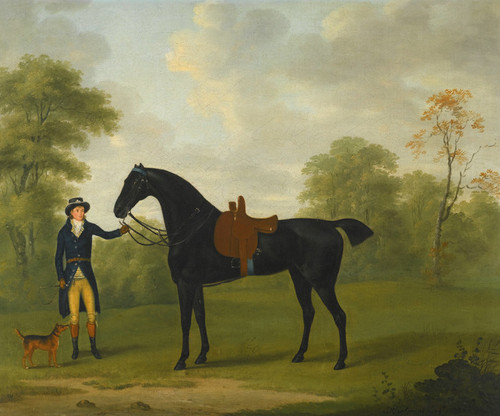 Art Prints of A Lady's Saddled Hunter held by a Groom by John Nost Sartorius