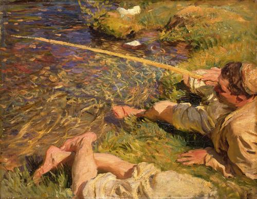Art Prints of A Man Fishing by John Singer Sargent
