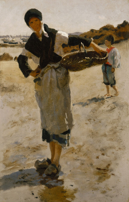 Art Prints of Breton Woman with a Basket by John Singer Sargent