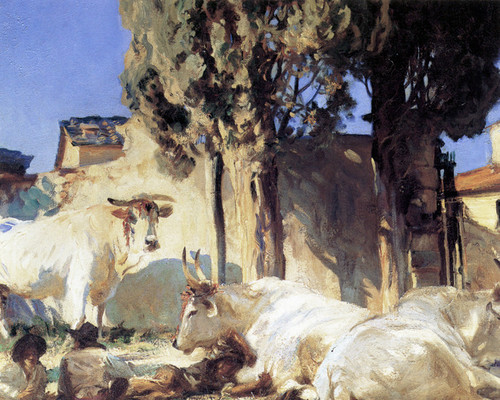 Art Prints of Oxen Restin by John Singer Sargent
