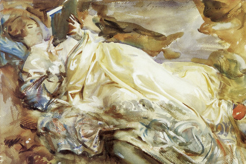 Art Prints of Rose Marie Ormond Reading in a Cashmere Shawl by John Singer Sargent