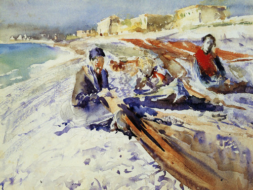 Art Prints of Three Figures on a Beach by John Singer Sargent