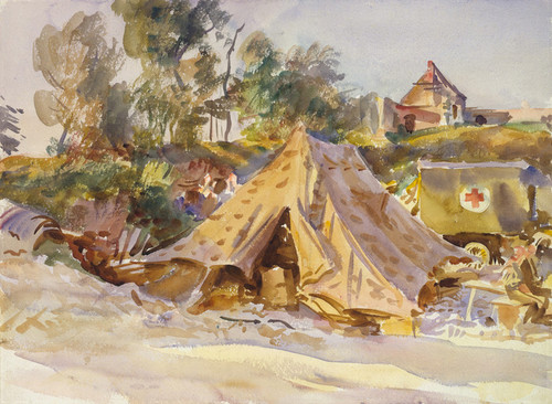 Art Prints of Camp with Ambulance by John Singer Sargent