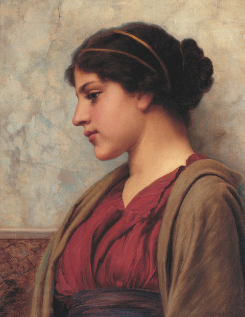 Art Prints of A Classical Beauty, Faraway Thoughts by John William Godward