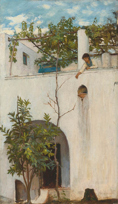 Art Prints of Lady on a Balcony by John William Waterhouse