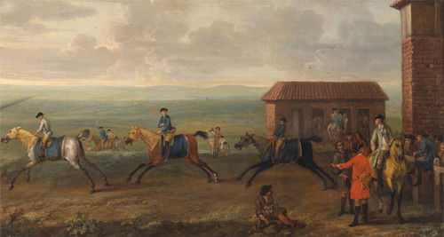 Art Prints of Lord Portmore Watching Racehorses at Exercise by John Wootton