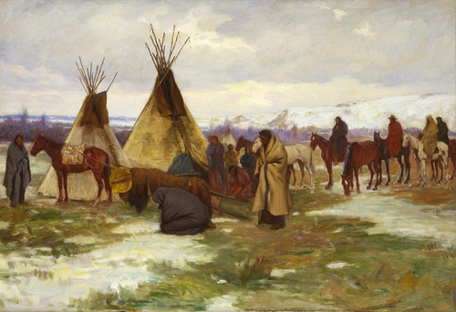 Art Prints of Burial Cortege of a Crow chief by Joseph Henry Sharp