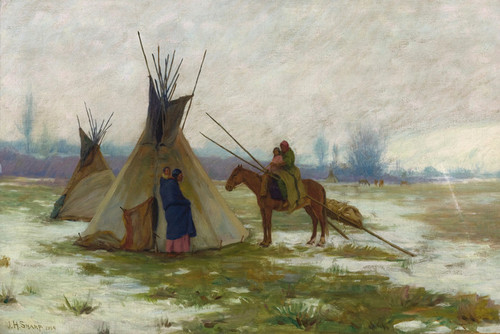 Art Prints of Winter on the Crow Reservation by Joseph Henry Sharp