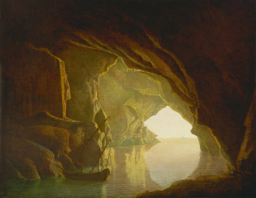 Art Prints of A Grotto in the Gulf of Salerno, Sunset by Joseph Wright of Derby