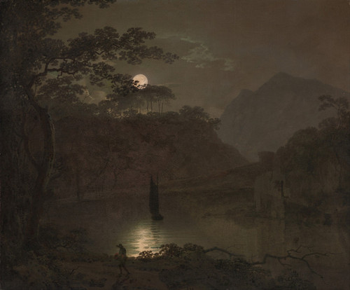 Art Prints of A Lake by Moonlight by Joseph Wright of Derby